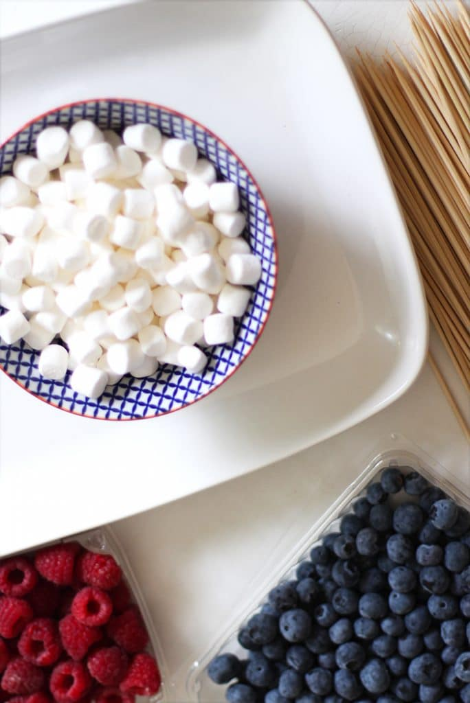 Ingredients for Fourth of July Fruit Skewers