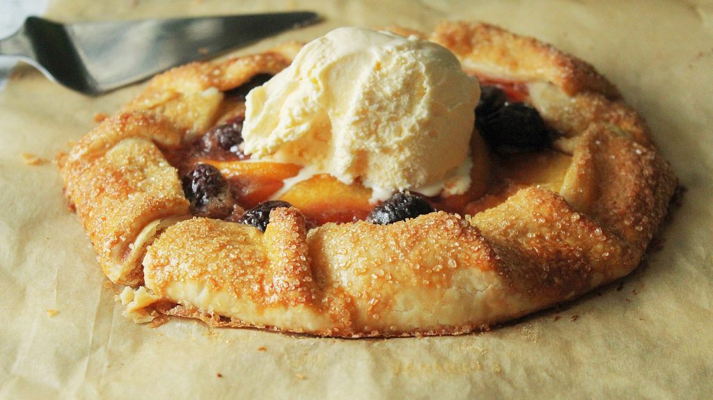 peach recipes - galette with cherries