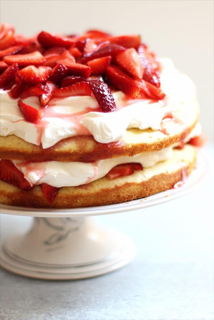 Strawberry Cake with Whipped Cream Layers