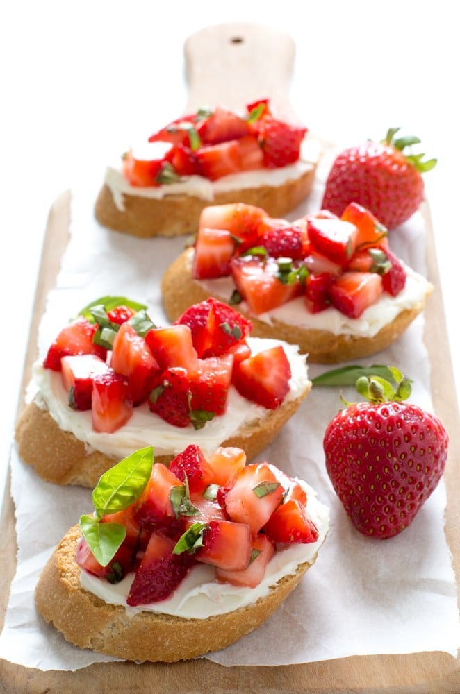 Strawberry Recipes Strawberry Basil Bruschetta from Chef Savvy