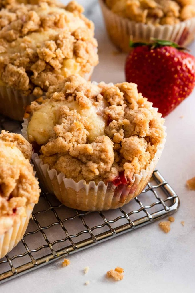 Strawberry Recipes Strawberry Crumble Muffins from Lemon and Zest