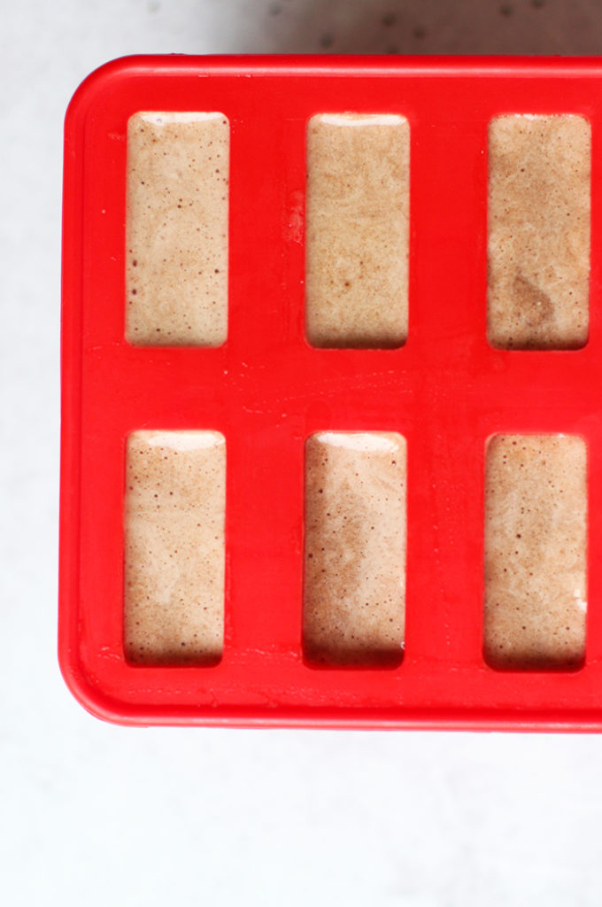 banana coffee popsicles in mold