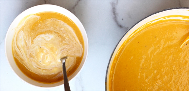Butternut Squash soup recipe with creme fraiche topping