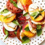 Peach Tomato Mozzarella Caprese with Balsamic Glaze
