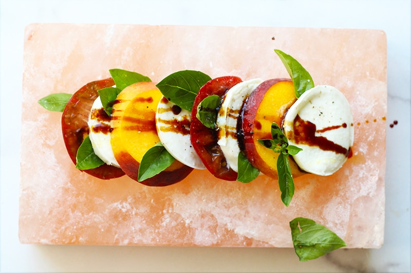 Salt Block Peach Caprese Rainbow Delicious Recipe