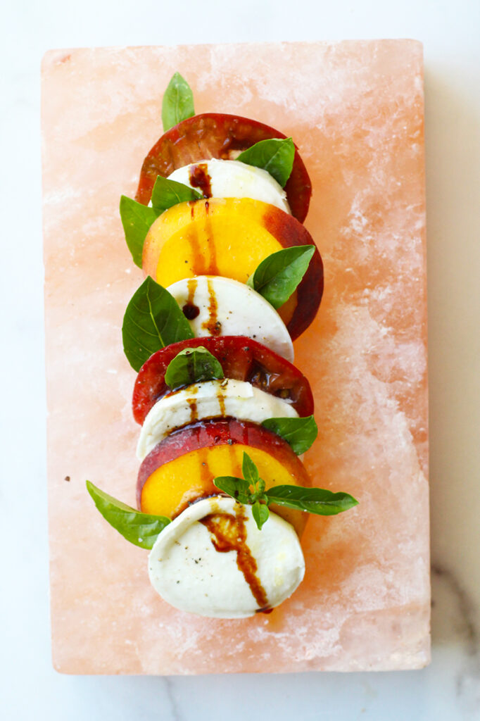 Salt Block Peach Caprese Recipe on Rainbow Delicious