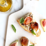 fig burrata appetizer crostini with balsamic glaze and fresh basil