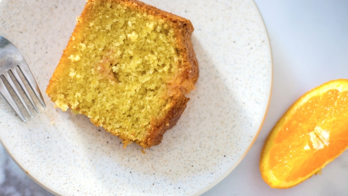 slice of orange Moosewood cake recipe