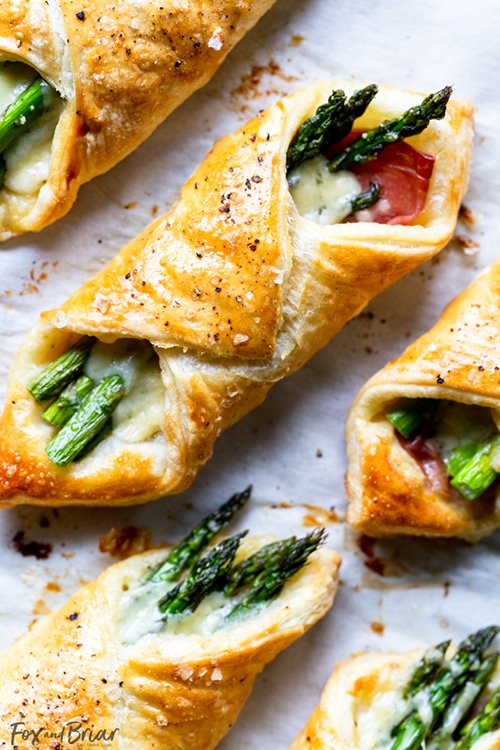 Asparagus Appetizer Recipes | Prosciutto and Asparagus Puff Pastry Bundles