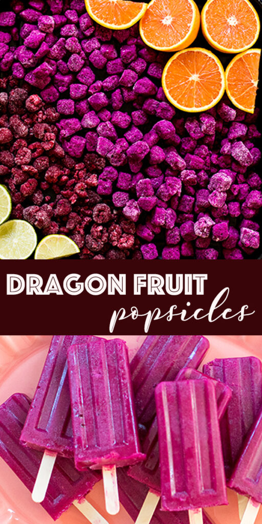 dragon fruit popsicles and ingredients raspberries, oranges, lime and pitaya