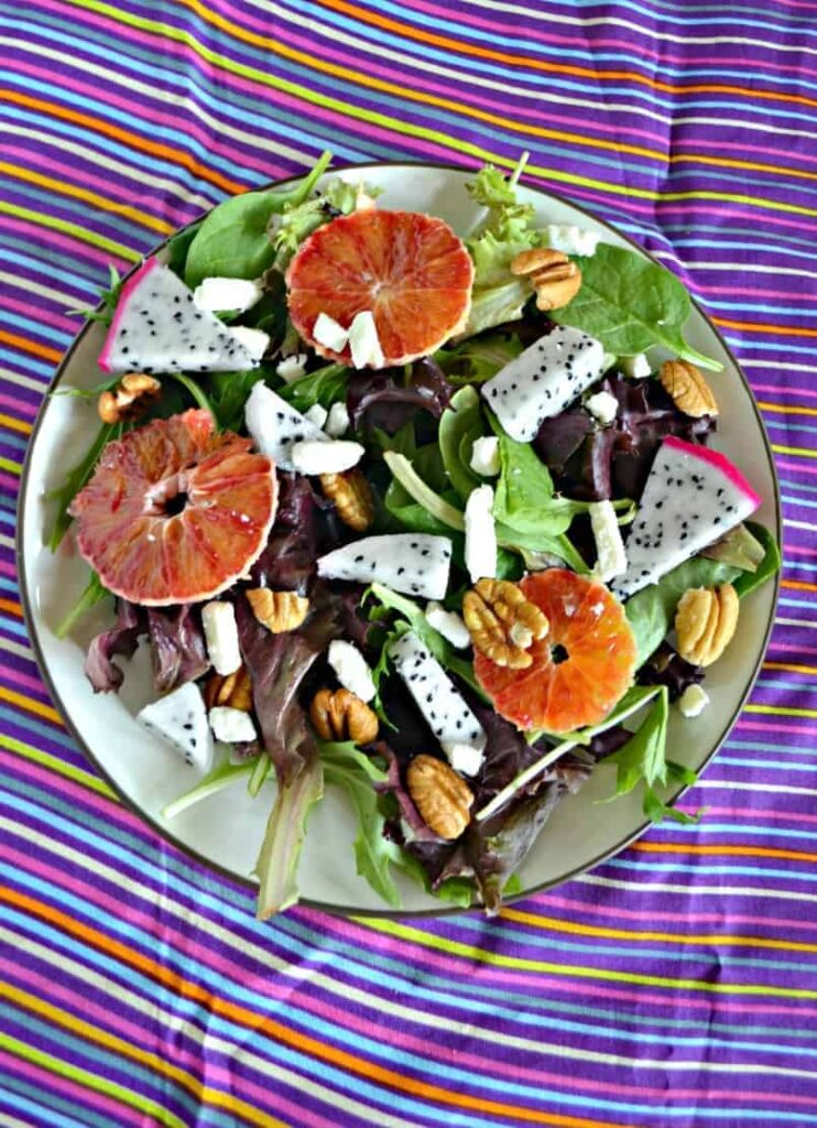 Dragon Fruit and Blood Orange Salads