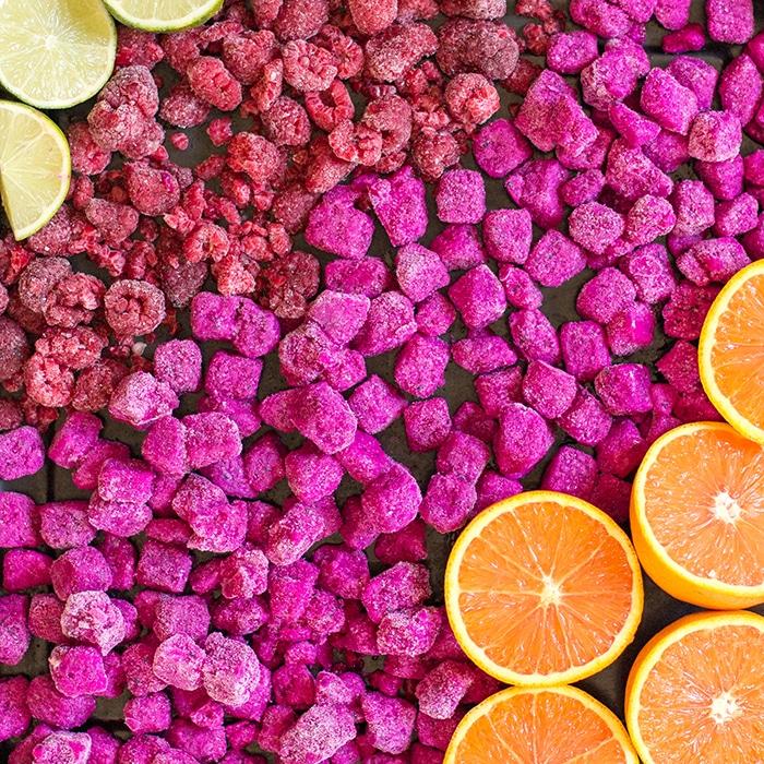 dragon fruit ingredients raspberries, pitaya orange and lime