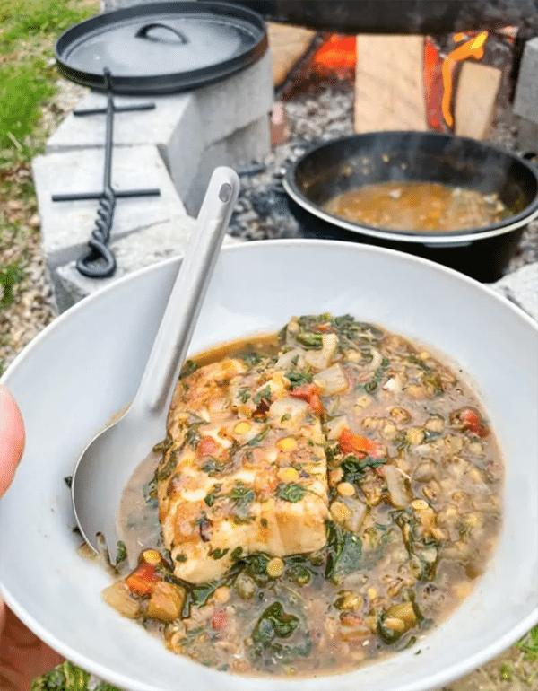 Campfire-Fish-Lentil-Stew-Dutch-Oven-Camp-Recipes