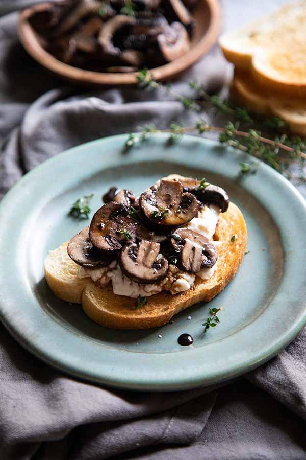 Mushroom Crostini Burrata Toast | Burrata Recipes