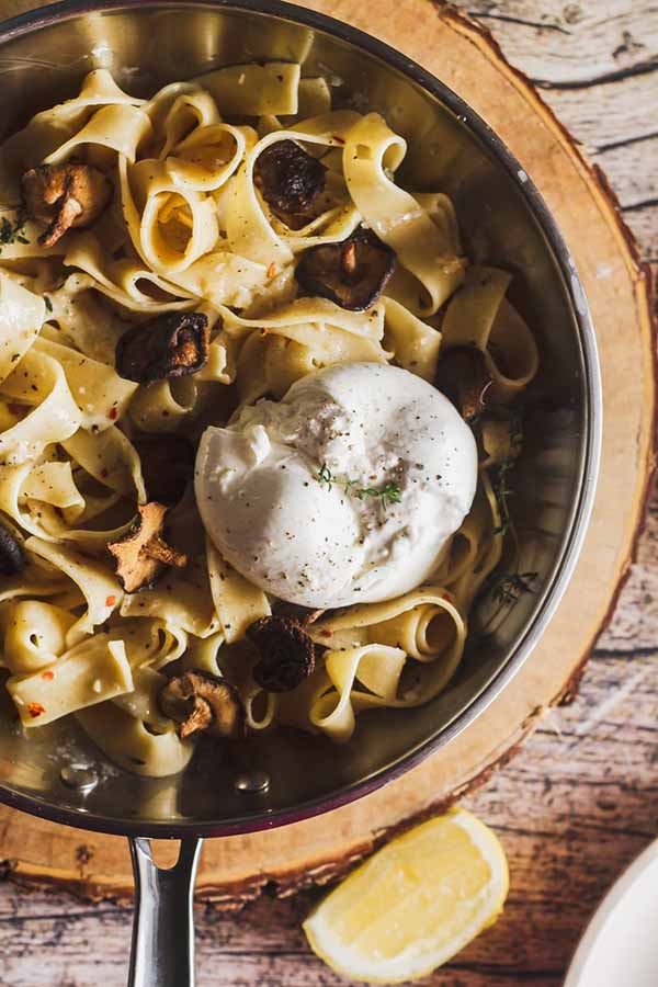 Mushroom Pasta with Burrata | Burrata Recipes
