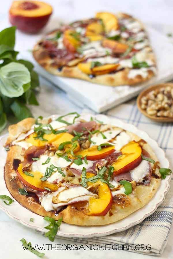 Peach Prsciutto and Burrata Grilled Naan Pizza | Burrata Recipes