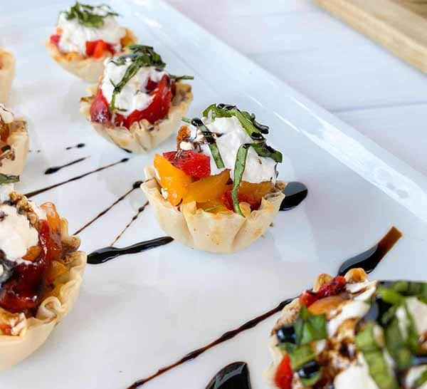 Phyllo Cups with Roasted Peppers and Burrata | Burrata Recipes