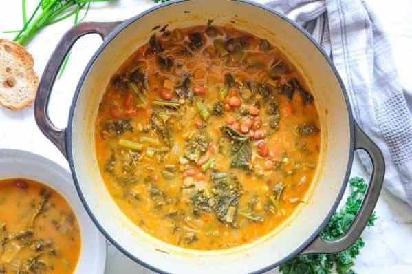 Savory White Bean Kale Soup | Dutch Oven Soups
