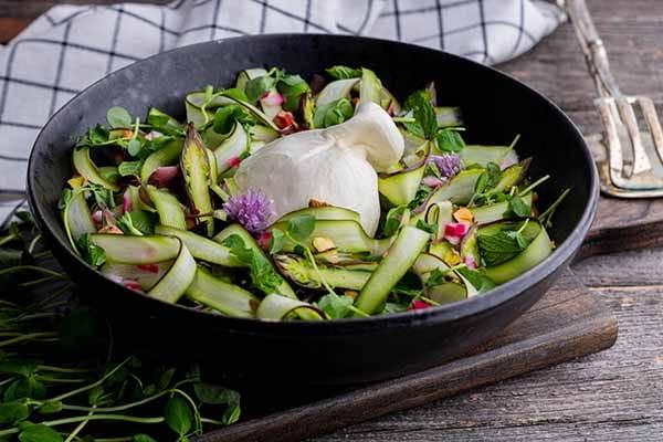 Shaved Asparagus Salad with Burrata | Burrata Recipes