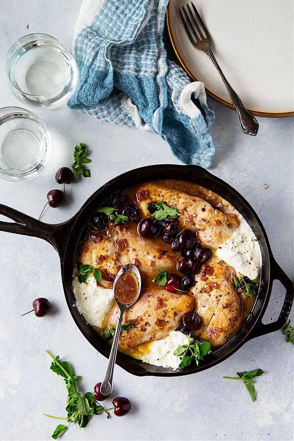 Skillet Cherry Chicken with White Wine Sauce and Burrata | Burrata Recipes