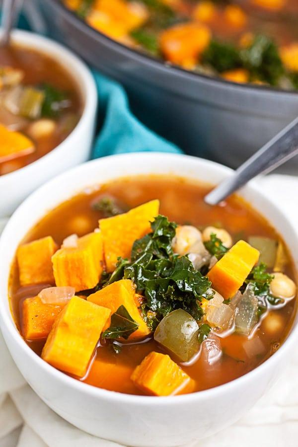 Sweet Potato Kale Soup | Vegetarian Dutch Oven Soups