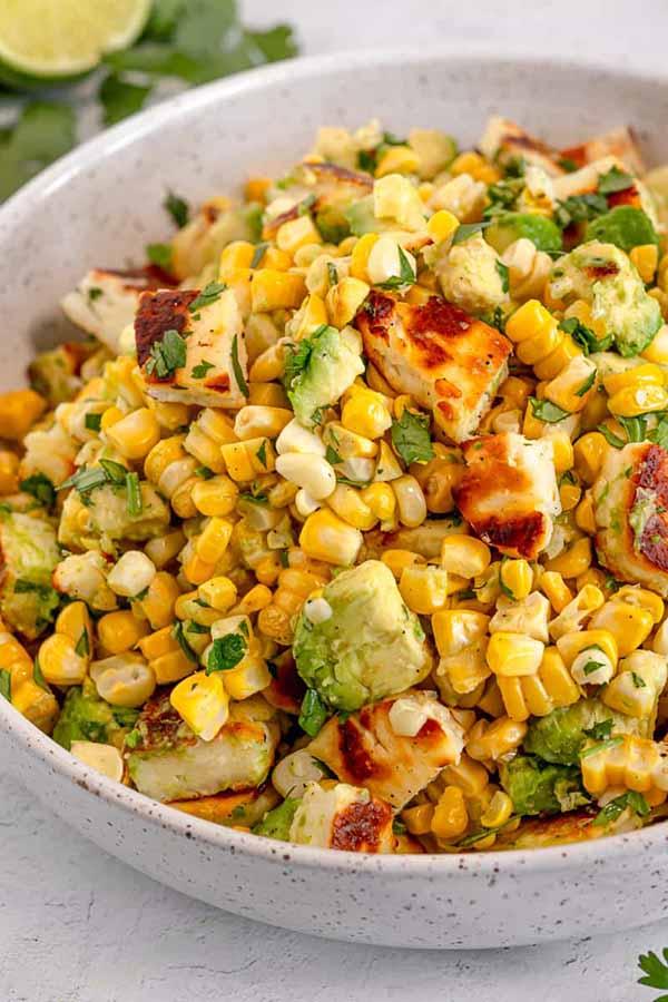 Grilled Corn Halloumi Salad | Halloumi Recipes