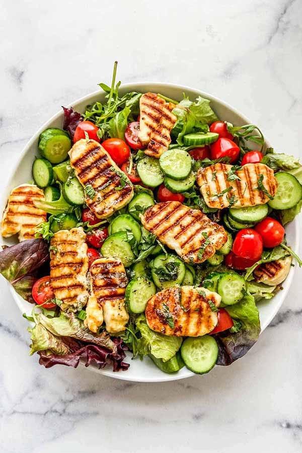 Grilled Halloumi Salad | Halloumi Recipes