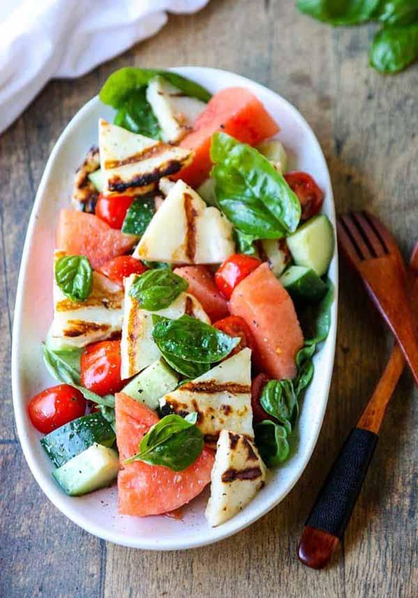 Grilled Halloumi Watermelon Salad | Halloumi Recipes