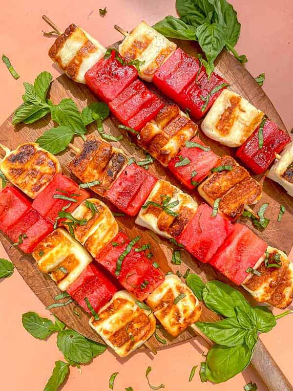 Grilled Wateremelon and Halloumi Skewers | Halloumi Recipes
