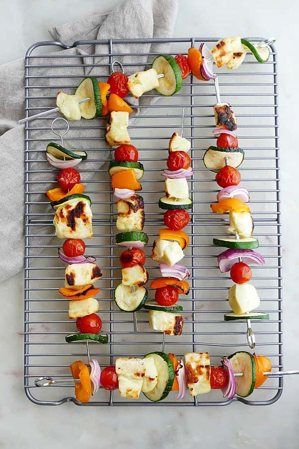 Vegetable Skewers with Halloumi | Halloumi Recipes