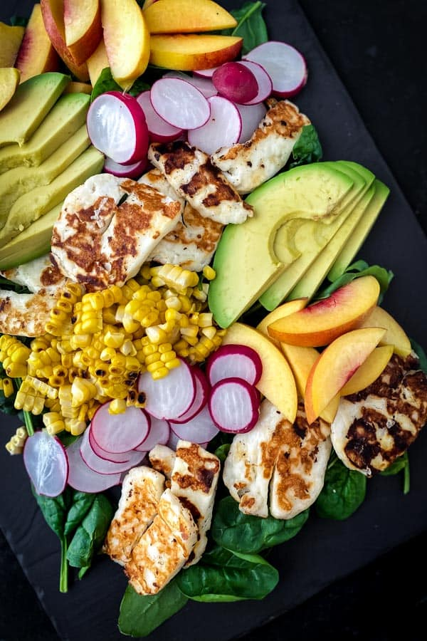 Yellow Nectarine Salad | halloumi Recipes