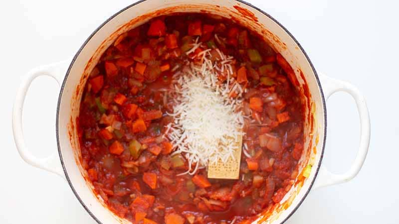 Parmesan Rind in Tuscan kale soup